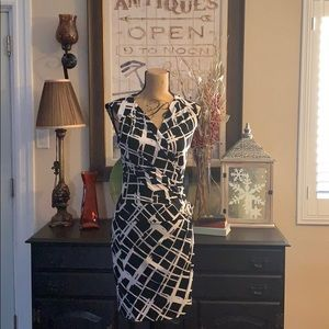 Cache Black and White Sleeveless Dress